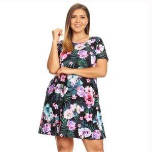 Dresses & Skirts - 3 LEFT!🌺Plus Tropical Print Fit & Flare Dress